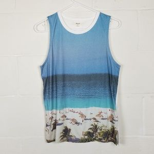 Madewell Beach Day Blue/White Tank Top, Size XS